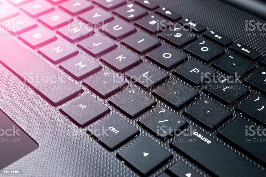 Close Up View Of A Modern Laptop Computer Keyboard Keys Soft