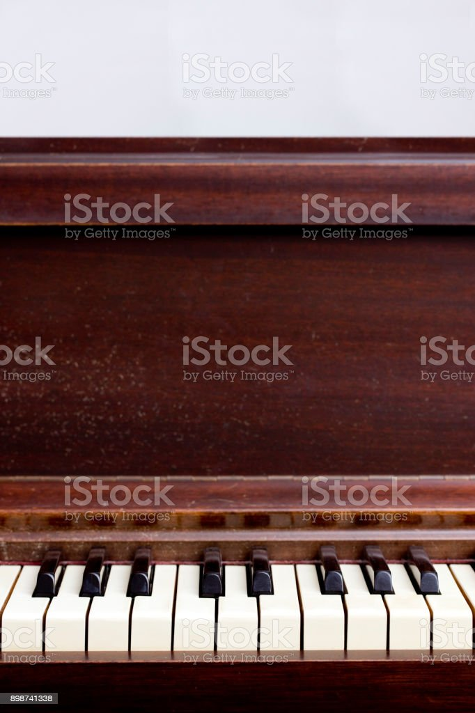 Close Up View of an Antique Piano Keyboard stock photo