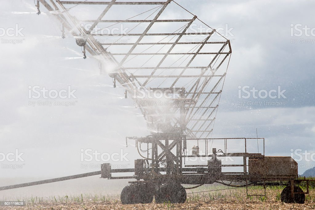 Close up view of an overhead spray irrigator stock photo