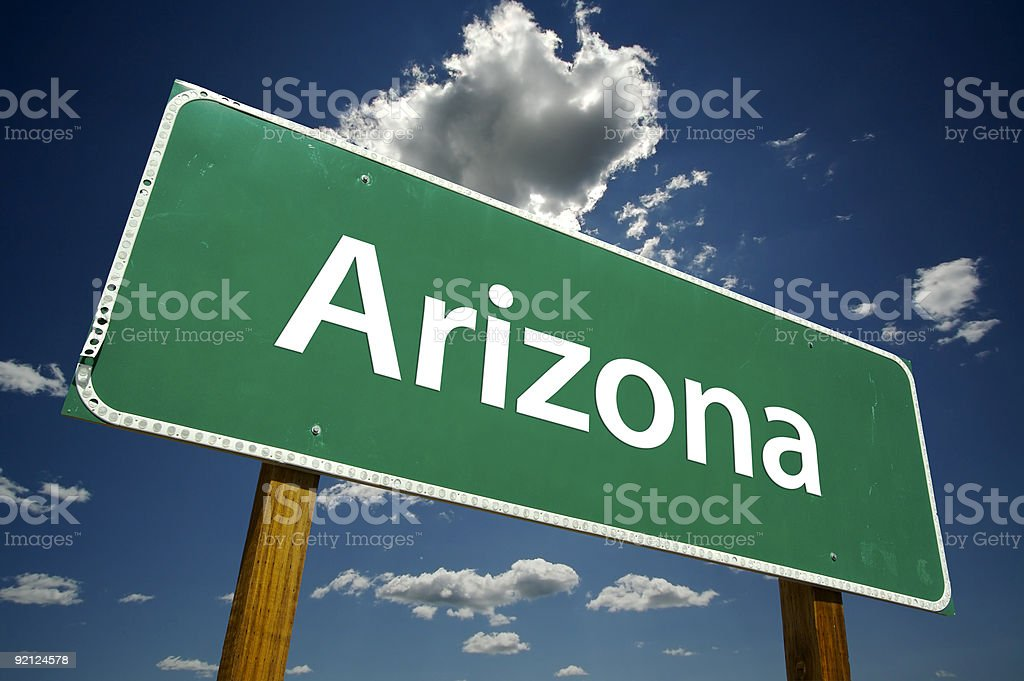 Close up view of Arizona sign with blue sky background  royalty-free stock photo
