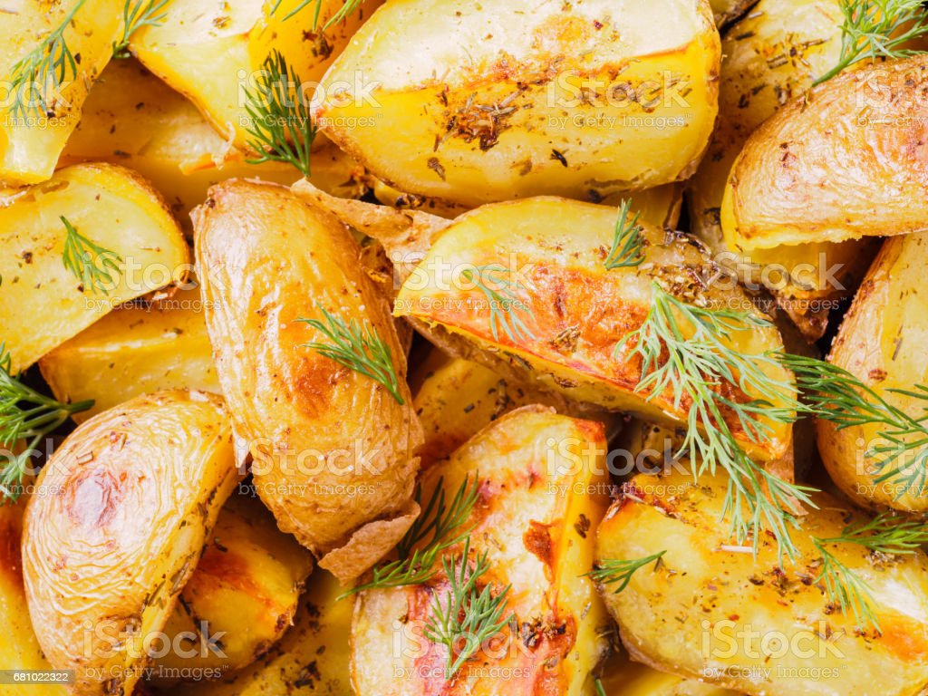 Close up view of backed potatoes pattern royalty-free stock photo