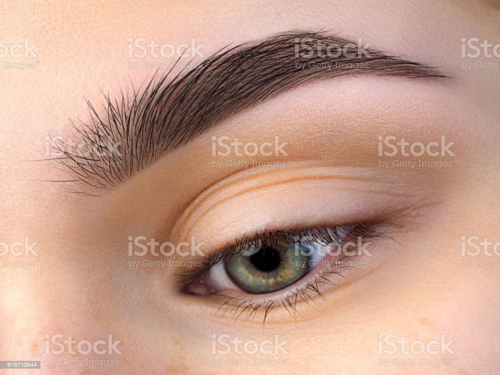 Nahaufnahme der schönen grünen weibliche Auge – Foto