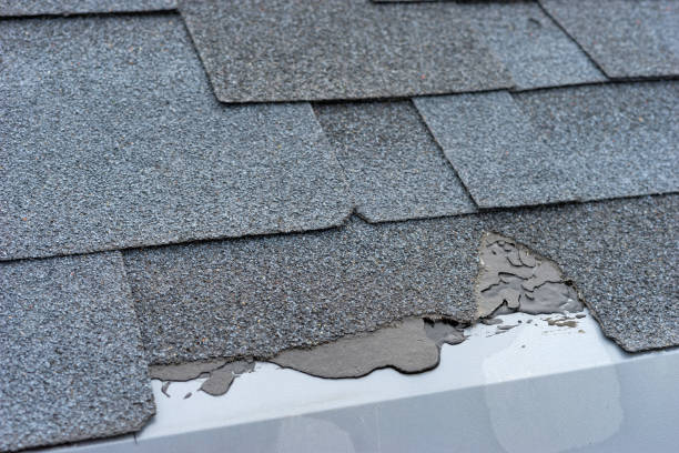 close up view of bitumen shingles roof damage that needs repair. - storm stock photos and pictures