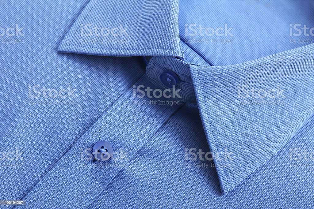Close up view of blue business shirt. stock photo