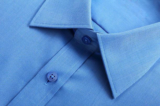Close-up vista de camisa azul de negócios. - foto de acervo