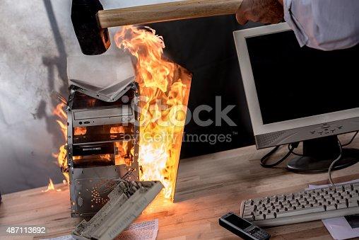 593328060 istock photo Close up view of burning CPU 487113692