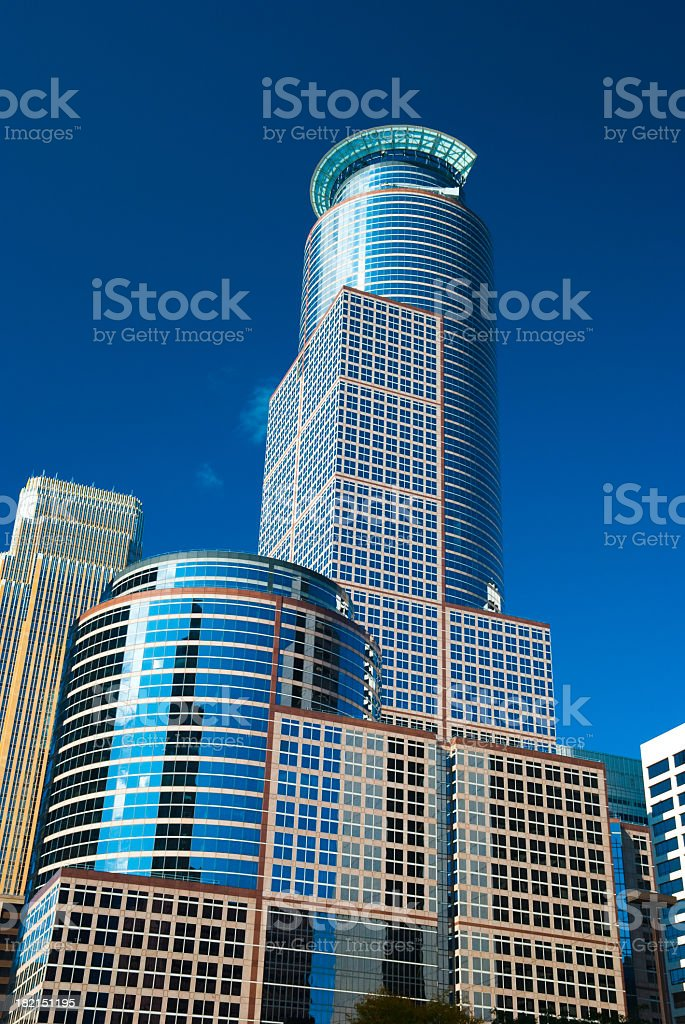 A close up view of Capella tower stock photo