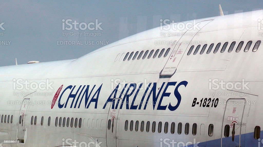 Close Up View Of China Airline Double Deck Passenger Airplane stock photo