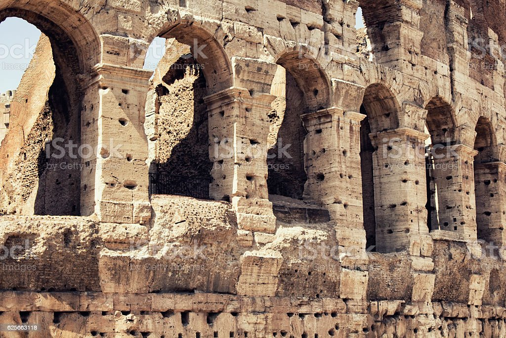 Close up view of Colosseum in Rome. stock photo