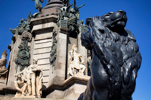 Close up view of famous historical sculpture landmark called \