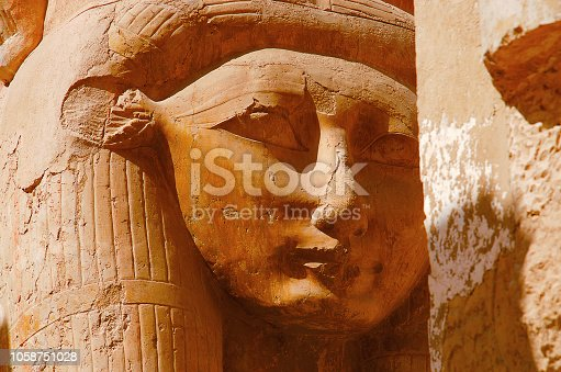 istock Close up view of Goddess Hathor, Near Valley of  Kings, Luxor, Upper Egypt 1058751028