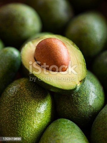 Close up view of halves of an avocado