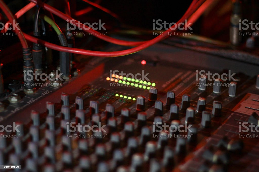 Close Up View Of Knobs And Sliders Of Light And Sound Board