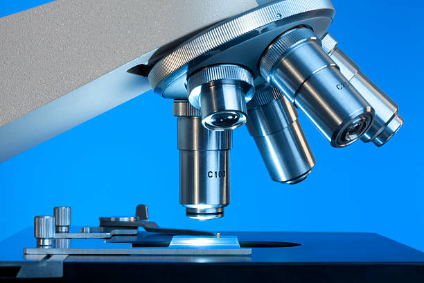 close up view of microscope lenses looking at a slide  - microscope stock photos and pictures
