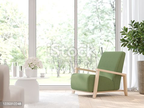 657740026 istock photo Close up view of modern living room with blurry nature background 3d render 1220312248