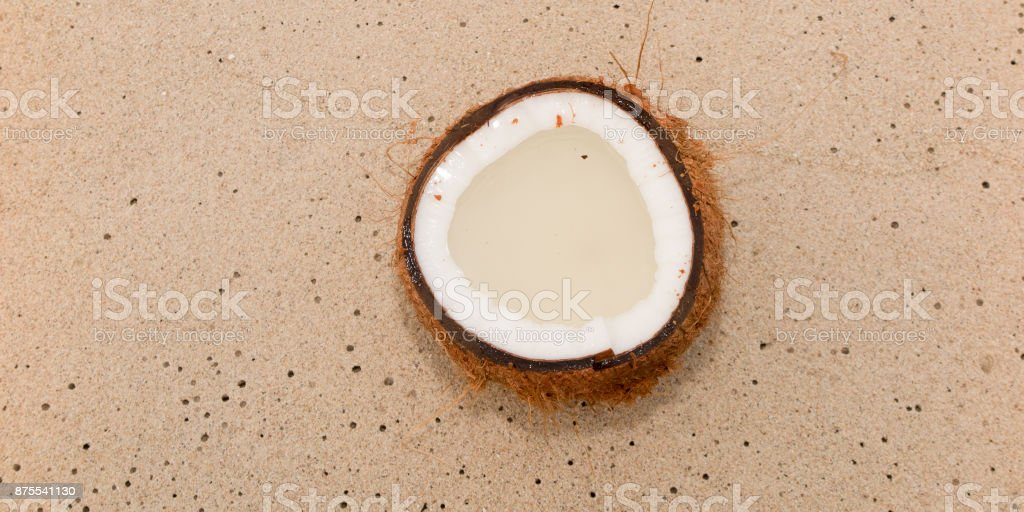 Close up view of nice fresh coconut in tropical environment stock photo