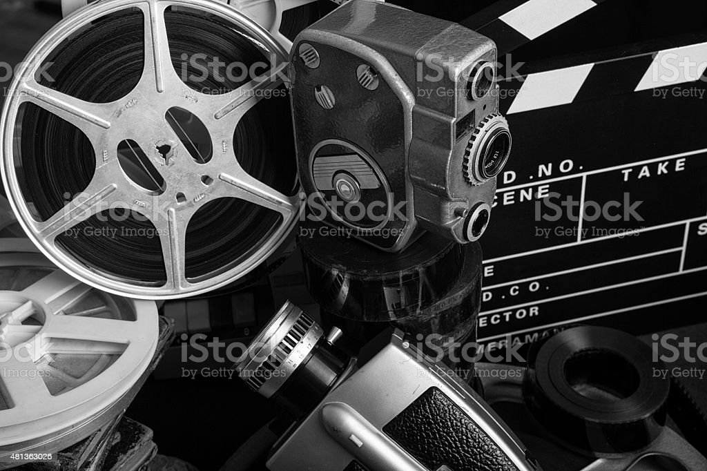 Close Up View Of Old Fashioned Cinema And Video Equipments stock photo