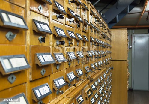 668340340istockphoto close up view of old wooden  file cabinets with handles 939490892
