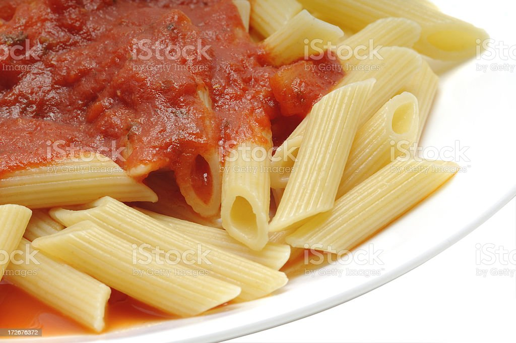 Close up view of pasta and sauce royalty-free stock photo