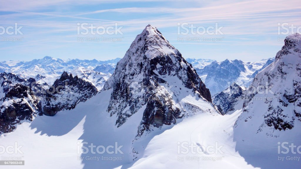 close up view of Piz Buin in the Swiss Alps stock photo