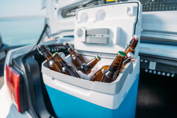 close up view of portable fridge with beer standing in car close up view of portable fridge with beer standing in car cooler container stock pictures, royalty-free photos & images