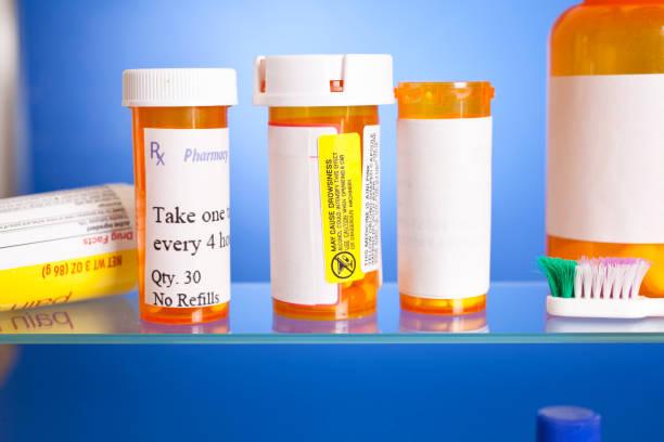 Close up view of prescription medicines in cabinet. stock photo