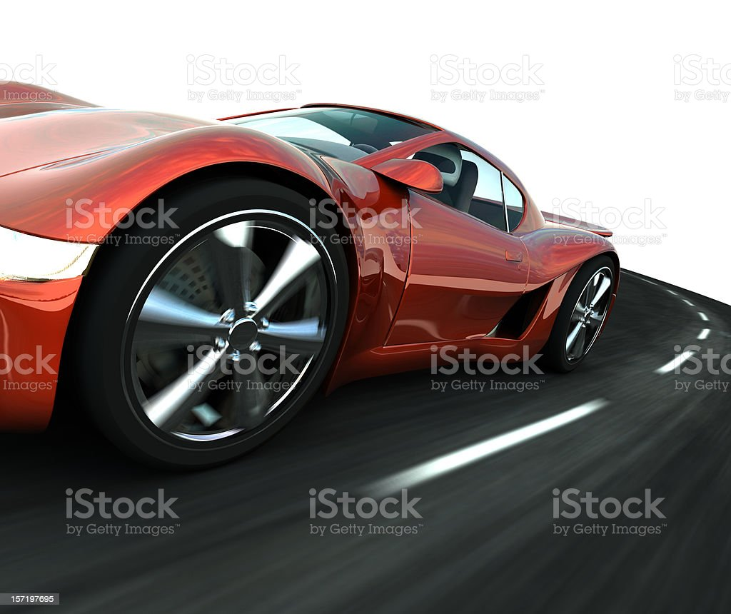 Close up view of red sports car royalty-free stock photo