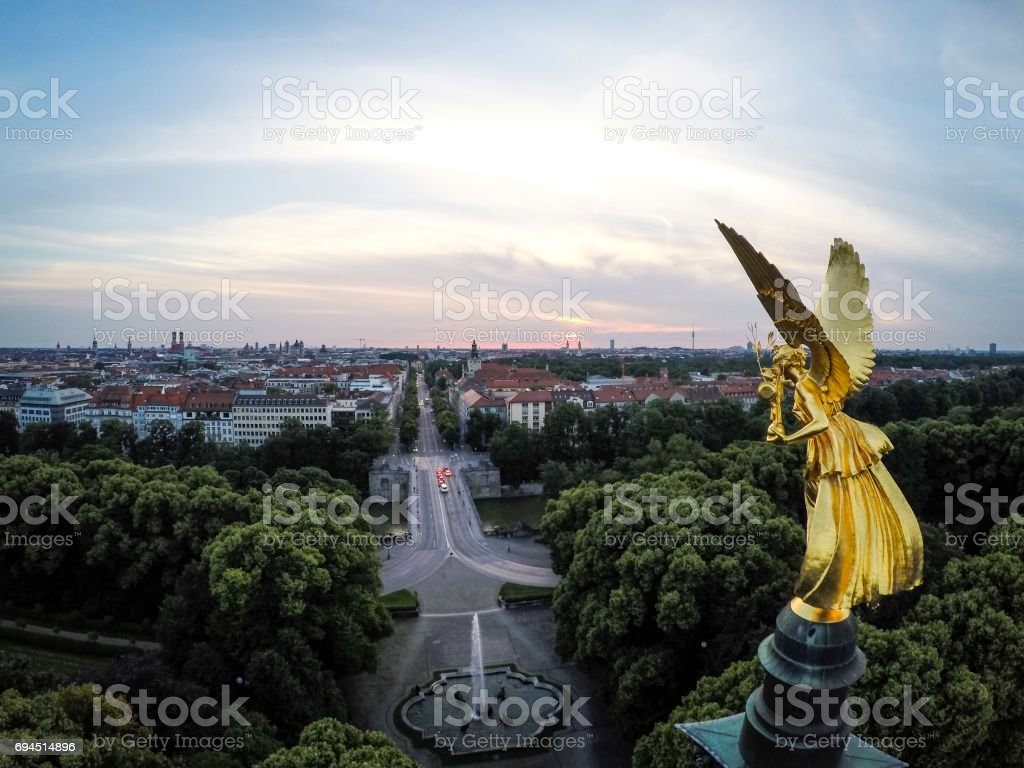A close up view of the Angel of Peace in Munich, Germany stock photo