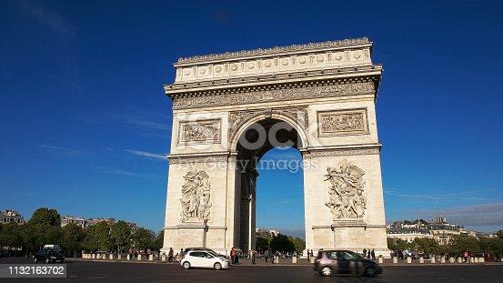 istock close up view of the arc de triomphe de l'etoile, paris 1132163702