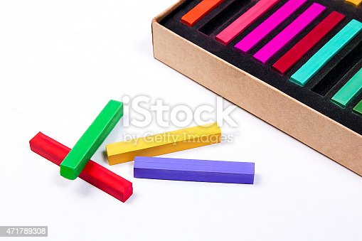 623300522 istock photo Close up view of the chalk pastels. 471789308