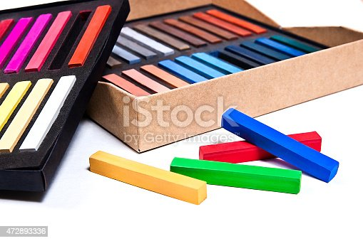 623300522 istock photo Close up view of the chalk pastels. 472893336