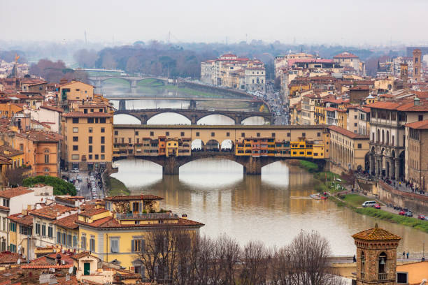 Close up view of the Ponte Vecchio in the italian city of Florence stock photo