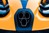 Brisbane, Queensland, Australia - February 29, 2020: Rear close up view of a papaya orange 2019 McLaren Senna super car. Only 500 of these models were produced in England commencing in 2018.