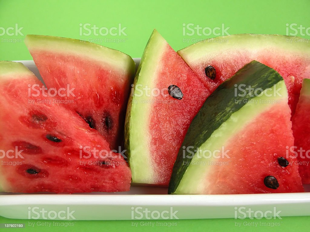 Close up view of watermelon slices in a bowl  royalty-free stock photo