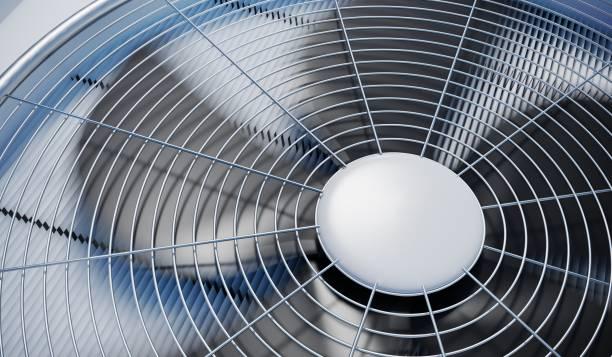 nahaufnahme auf hlk (heizung, lüftung und klimatisierung). 3d abbildung gerendert. - konsum stock-fotos und bilder