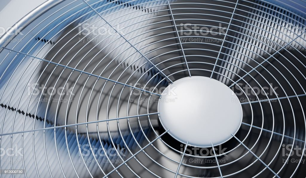 Close up view on HVAC units (heating, ventilation and air conditioning). 3D rendered illustration. stock photo
