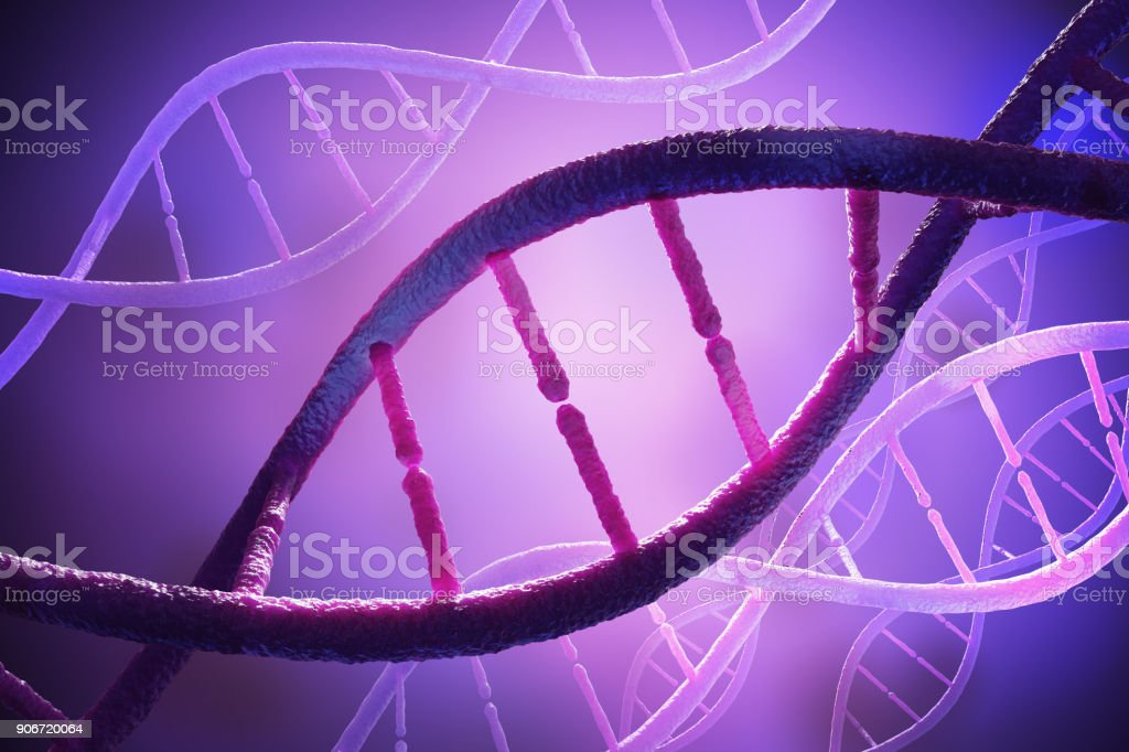 Close up view on spiral DNA molecules. 3D rendered illustration. stock photo