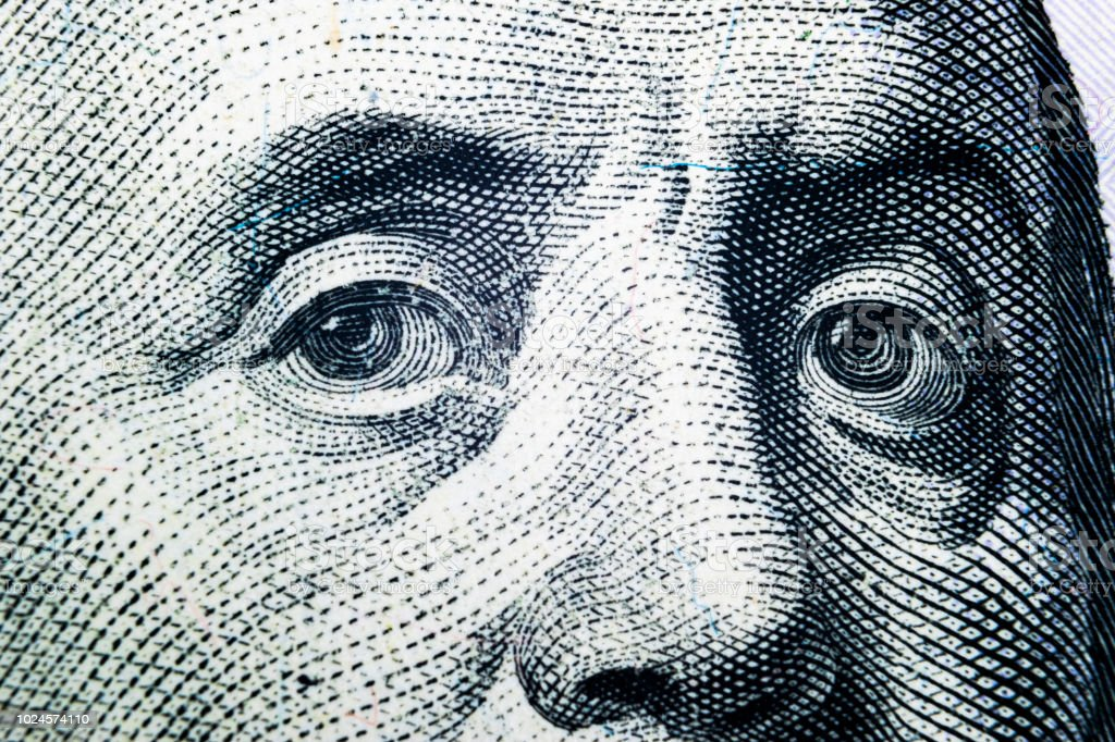 Nahaufnahme Portrait von Benjamin Franklin auf die hundert-Dollar-Schein. Hintergrund des Geldes. 100-Dollar-Schein mit Benjamin Franklin Augen Makroaufnahme. – Foto
