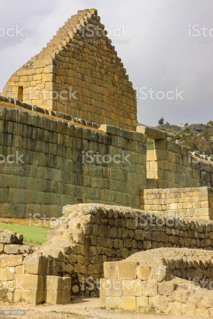Close up view to ancient Inca ruins of Ingapirca stock photo