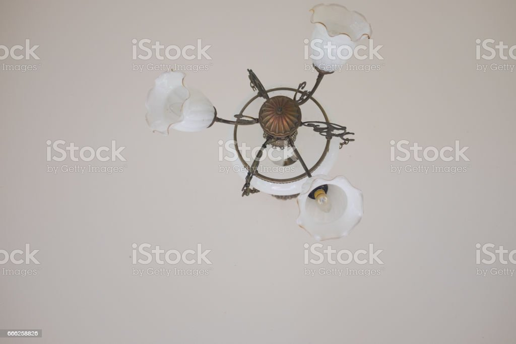 Close up vintage lamp interior in home stock photo