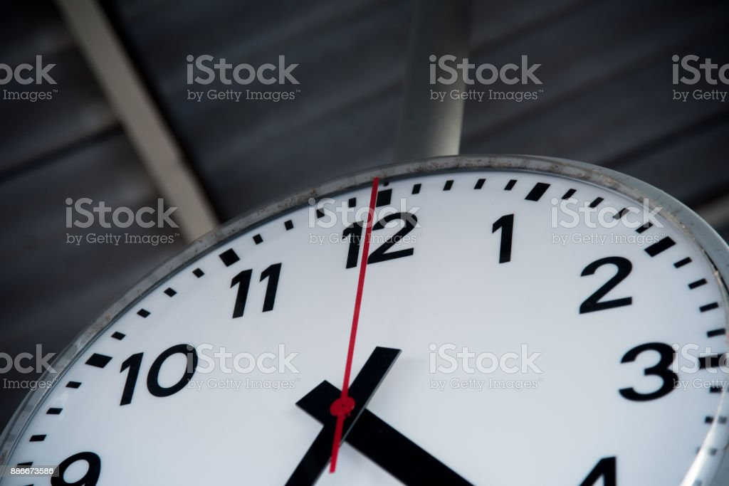 Close up Wall Clock in the Train Station stock photo