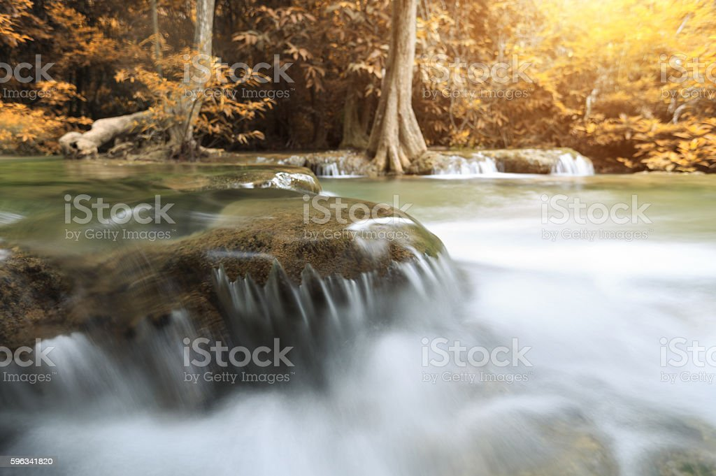 close up water motion of waterfall in autumn season royalty-free stock photo