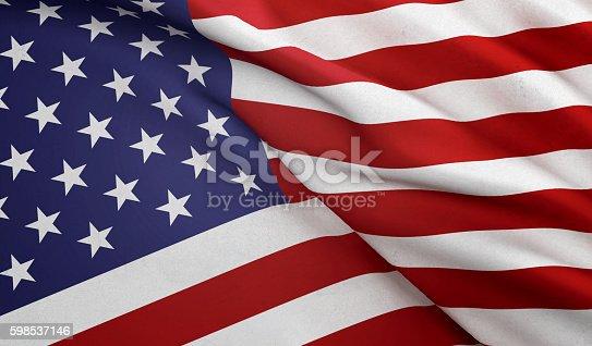 istock Close Up Waving American Flag 598537146