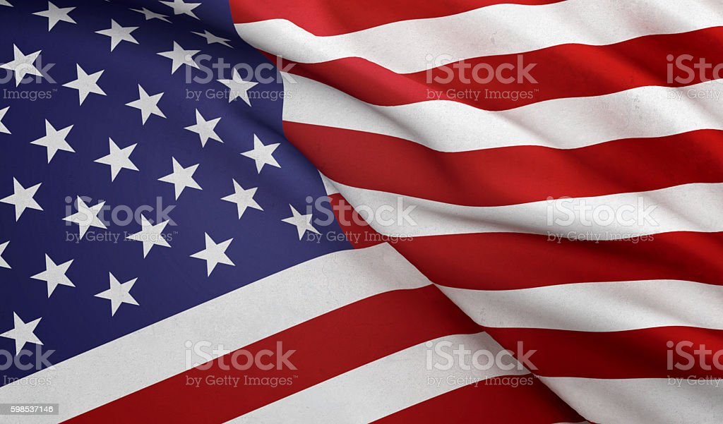 Close Up Waving American Flag stock photo