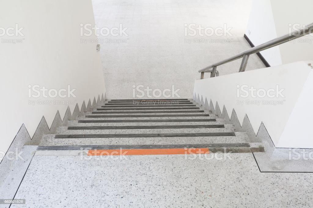 Close Up, Way Down The Stairs Terrazzo , Marble Floor Royalty Free Stock  Photo
