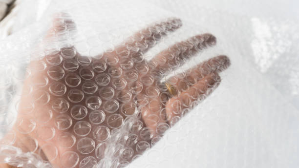 Close up White air bubble warp protection goods - foto stock