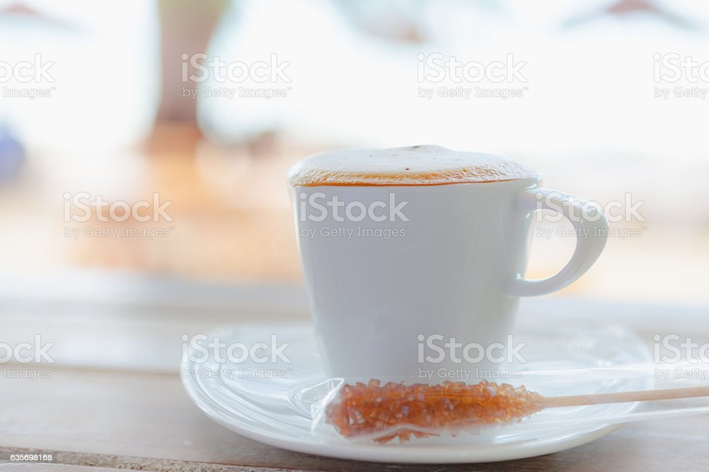 Close up white coffee cup on wood table royalty-free stock photo