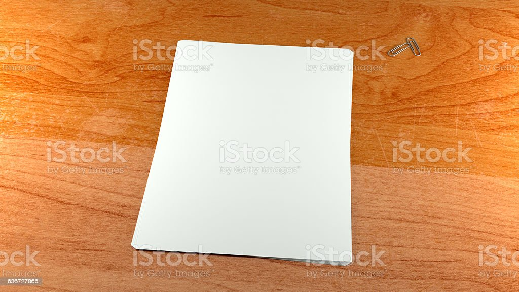 Close up white paper sheets and clips on wooden background. – Foto