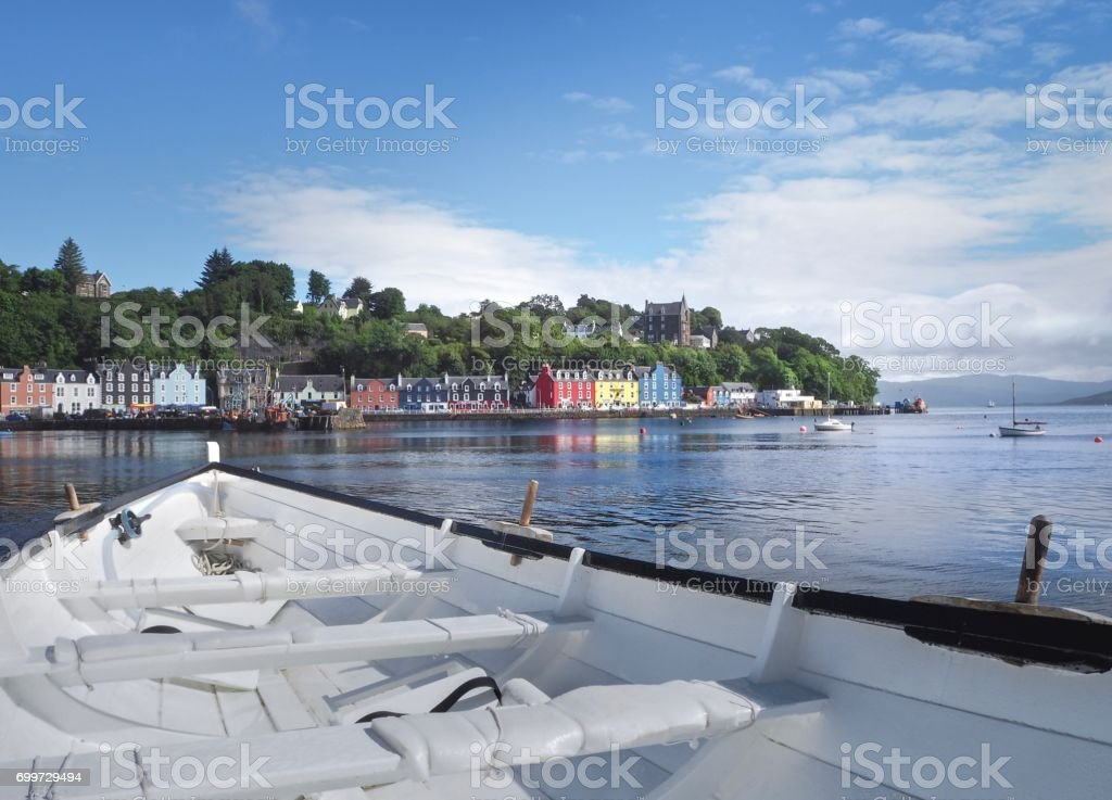 Close Up : White Sailboat On Tobermory Town Background stock photo
