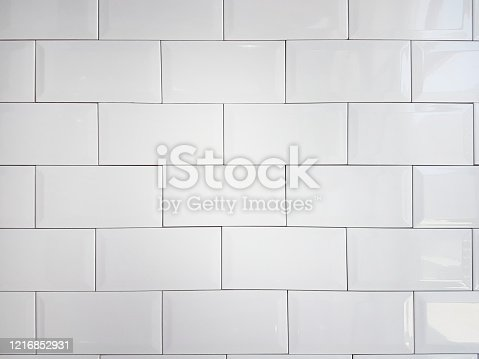 Close up white vintage ceramic brick tile wall